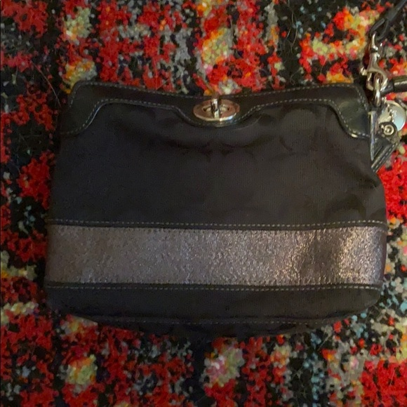 AUTHENTIC COACH Black and Silver Wristlet